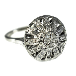 14k White Gold Diamond Cocktail Ring .45 ctw Art Deco Era - Premier Estate Gallery