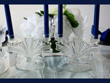 Authentic Art Deco Glass Fan Candle Holders 2 Light Etched and Pressed Glass c1920-30 - Premier Estate Gallery 3