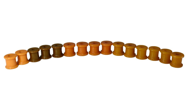 Set of Vintage Butterscotch Bakelite Barrel Beads Toggle Buttons c1930 - Premier Estate Gallery 2