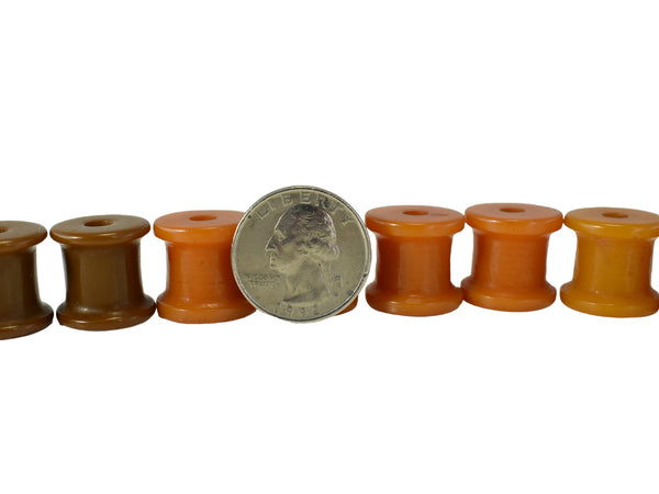 Set of Vintage Butterscotch Bakelite Barrel Beads Toggle Buttons c1930