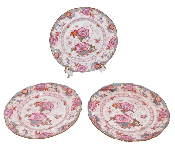 Cauldon Bentick Pink Blue Salad Plates Set of 3 Antique - Premier Estate Gallery 3