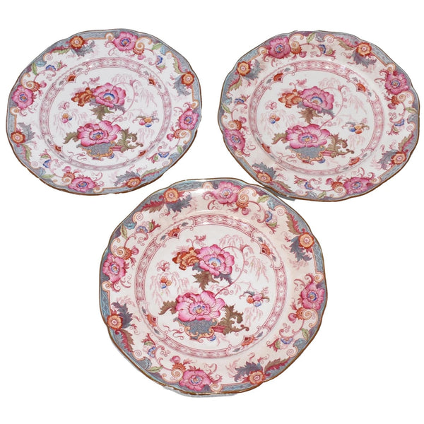 Cauldon Bentick Pink Blue Salad Plates Set of 3 Antique
