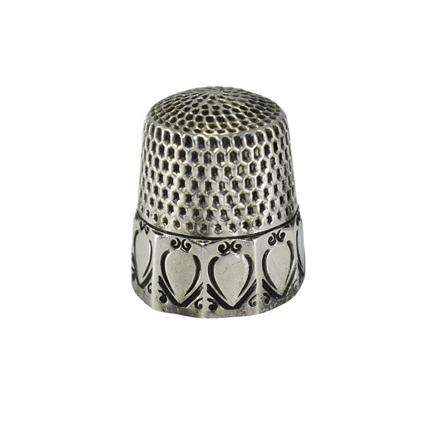 Antique Sterling Silver Thimble Webster Co Paneled Scrolled Hearts - Premier Estate Gallery  1