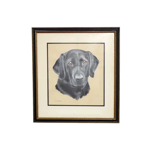 Estate Black Lab Labrador Watercolor Painting Framed - Premier Estate Gallery