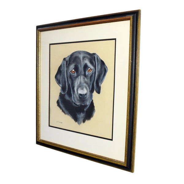 Estate Black Lab Labrador Watercolor Painting Framed - Premier Estate Gallery 1