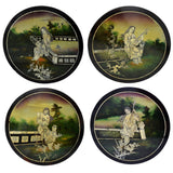 Chinese Black Lacquer Hand Painted Oriental Ladies Garden Wall Plaques MOP Inlay - Premier Estate Gallery