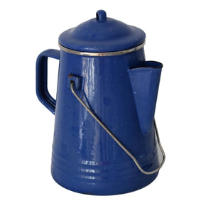 Blue Enamel Coffee Pot Coffee Kettle with Bail Handle and Insert - Premier Estate Gallery