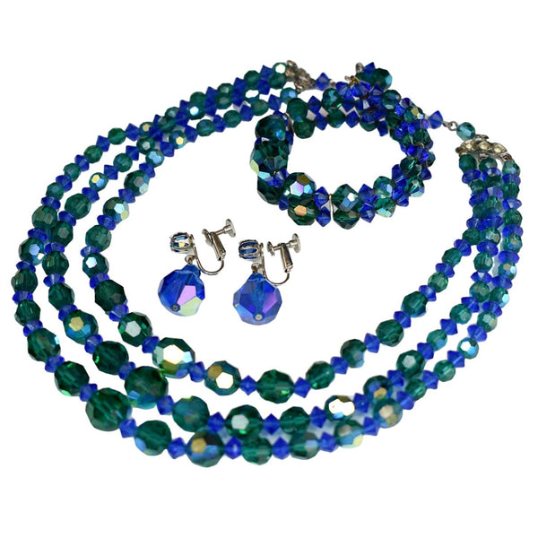 Vintage AB Crystal Blue Green Jewelry Set Parure - Premier Estate Gallery
