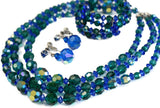 Vintage AB Crystal Blue Green Jewelry Set Parure - Premier Estate Gallery 1