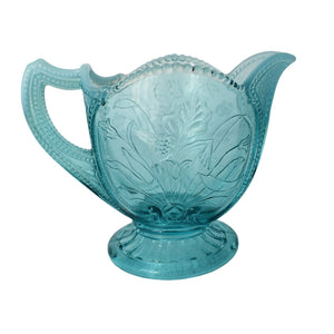 1902 Northwood Glass Blue Opalescent  Wild Flower Creamer Turquoise Decor  - Premier Estate Gallery