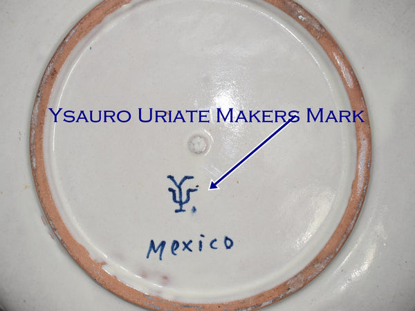 Ysauro Uriate and Enrique Luis Ventosa Cobalt Blue Decorated Earthenware Pottery Charger Antique