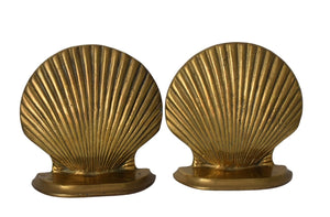 Solid Brass Seashell Bookends Vintage 1980s Gold Decor Coastal Decor - Premier Estate Gallery