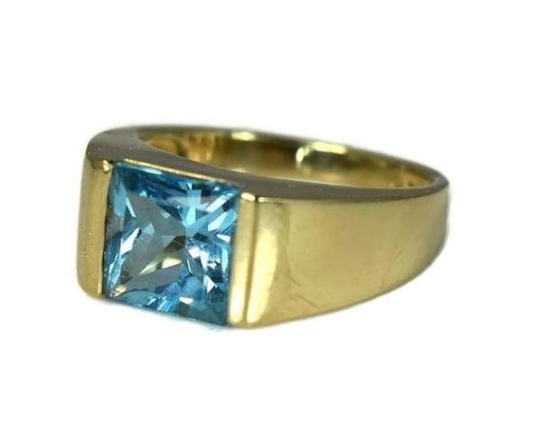 14k Swiss Blue Topaz Princess Cut Ring Gold Bezel Setting - Premier Estate Gallery 2