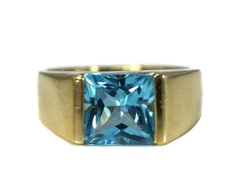 14k Swiss Blue Topaz Princess Cut Ring Gold Bezel Setting - Premier Estate Gallery