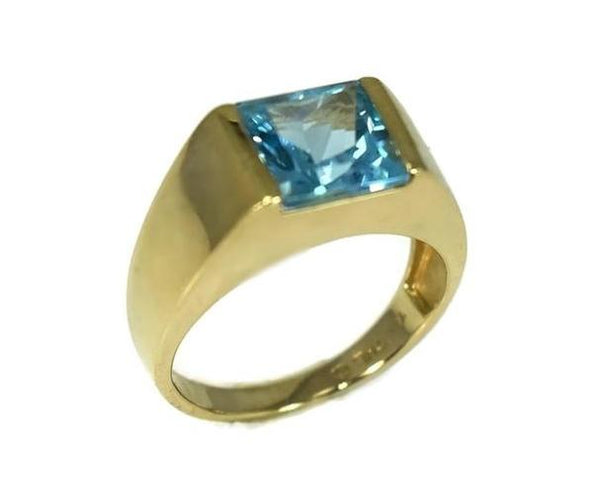 14k Swiss Blue Topaz Princess Cut Ring Gold Bezel Setting - Premier Estate Gallery 3
