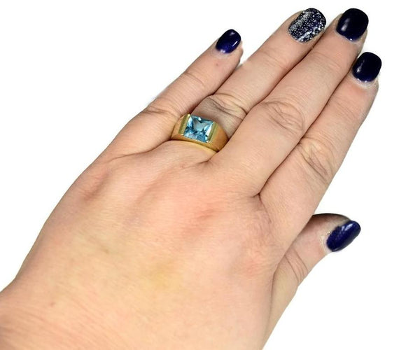 14k Swiss Blue Topaz Princess Cut Ring Gold Bezel Setting