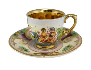 Vintage Italy Capodimonte Demitasse Cup Saucer Cherubs Sea Nymphs Relief Gold Decor - Premier Estate Gallery