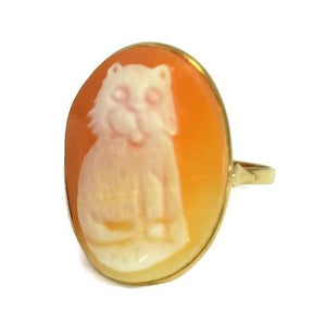 Vintage 14k Gold Cat Cameo Ring Made in Italy Large 1 Inch Cameo - Premier Estate Gallery