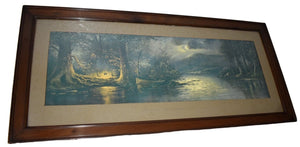 "William Henry Chandler ""Campers Paradise"" 43 inch Long Framed Print Antique Artwork - Premier Estate Gallery  2"