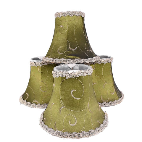 Vintage Clip On Silk Lamp Shades Chartreuse Green Set of 4 Embroidered - Premier Estate Gallery