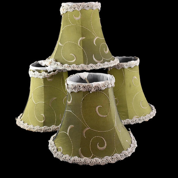 Vintage Clip On Silk Lamp Shades Chartreuse Green Set of 4 Embroidered - Premier Estate Gallery 1