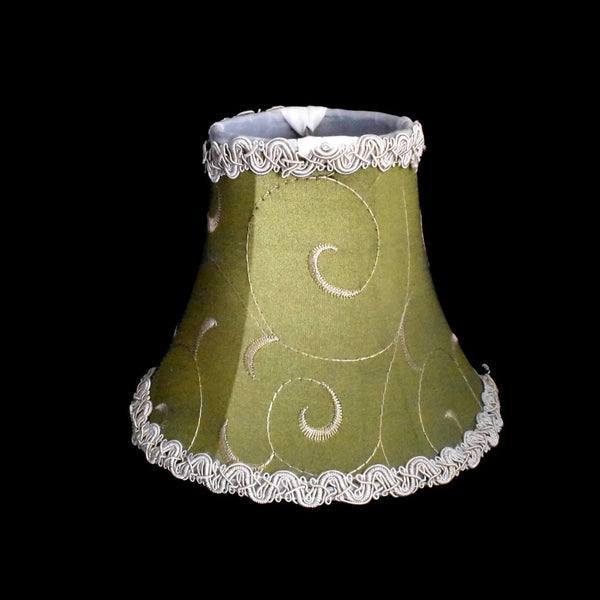 Vintage Clip On Silk Lamp Shades Chartreuse Green Set of 4 Embroidered - Premier Estate Gallery 3