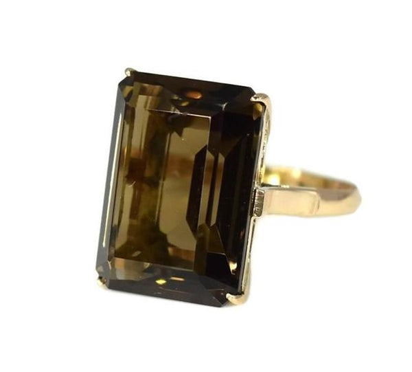 14k Rose Gold Brown Quartz Statement Ring Vintage - Premier Estate Gallery