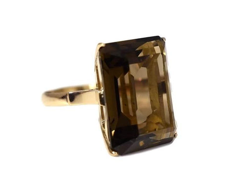 14k Rose Gold Brown Quartz Statement Ring Vintage - Premier Estate Gallery 2