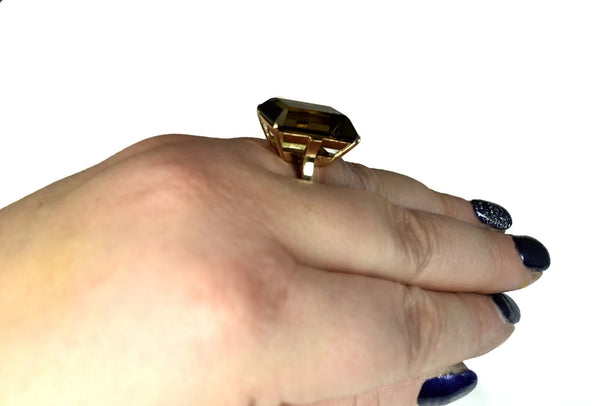 14k Rose Gold Brown Quartz Statement Ring Vintage
