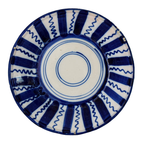 Farmhouse Cobalt Blue White Tin Glaze Pottery Faience Bowl Spain - Premier Estate Gallery