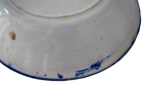 Farmhouse Cobalt Blue White Tin Glaze Pottery Faience Bowl Spain 18th Century