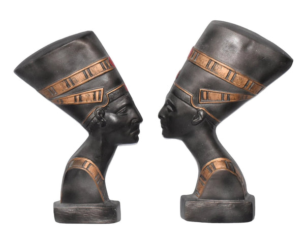 Vintage Egyptian Motif Chalkware Plaques Pair Pharaohs Nefertiti - Premier Estate Gallery