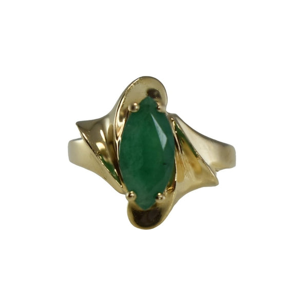 Estate 14k Gold Emerald Ring 1.02 carats, Vintage Emerald Engagement Ring 14k Gold - Premier Estate Gallery