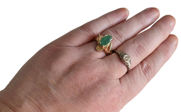 Estate 14k Gold Emerald Ring 1.02 carats, Vintage Emerald Engagement Ring 14k Gold