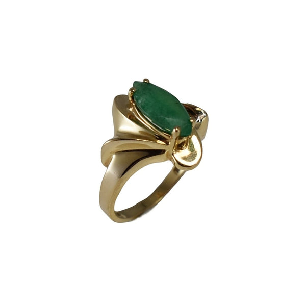 Estate 14k Gold Emerald Ring 1.02 carats, Vintage Emerald Engagement Ring 14k Gold - Premier Estate Gallery 1
