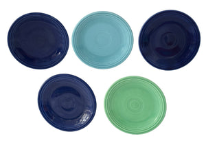 Estate Fiesta Ware Bread and Butter Plates 5 pc Older Marks 1937-1969 Light Green Cobalt Turquoise - Premier Estate Gallery
