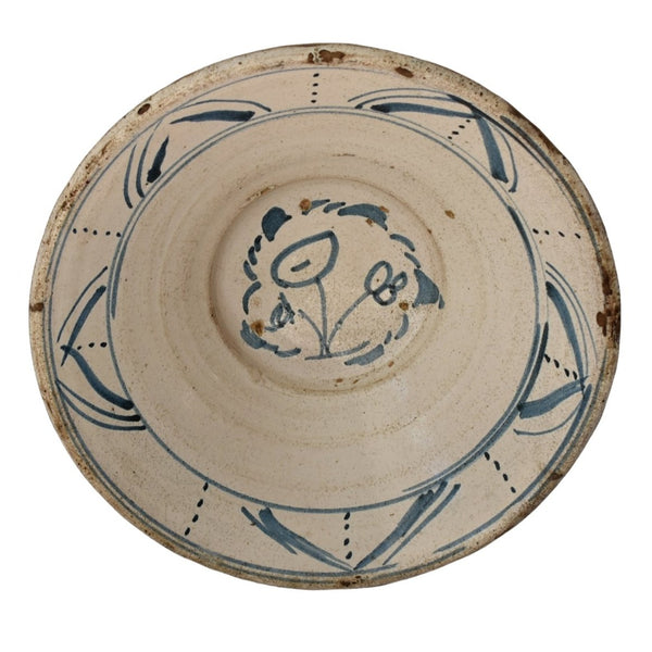 19th Cent Blue Tin Glaze Decorated Earthenware Bowl with Picasso Style Flowers - Premier Estate Gallery