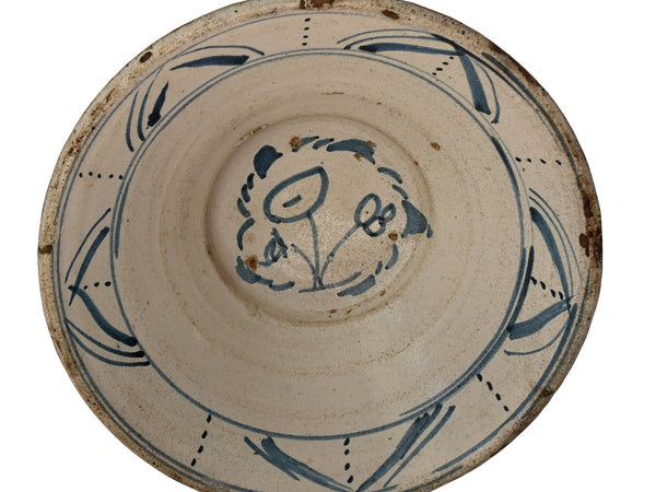 19th Cent Blue Tin Glaze Decorated Earthenware Bowl with Picasso Style Flowers - Premier Estate Gallery 1