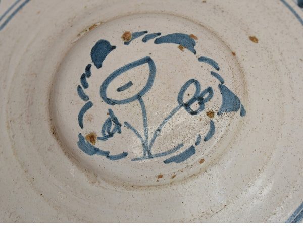 19th Cent Blue Tin Glaze Decorated Earthenware Bowl with Picasso Style Flowers