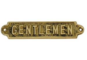 1960s Brass Gentleman Sign Super Vintage Decor - Premier Estate Gallery