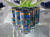 Vintage Georges Briard Europa High Ball Tumblers MCM Barware Gold Metallic Blue Teal - Premier Estate Gallery 4