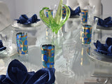 Vintage Georges Briard Europa High Ball Tumblers MCM Barware Gold Metallic Blue Teal