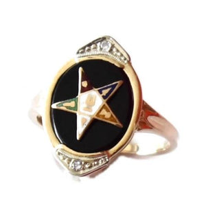 Vintage 14k Gold Eastern Star Onyx Enamel Ring with Diamond Accents - Premier Estate Gallery