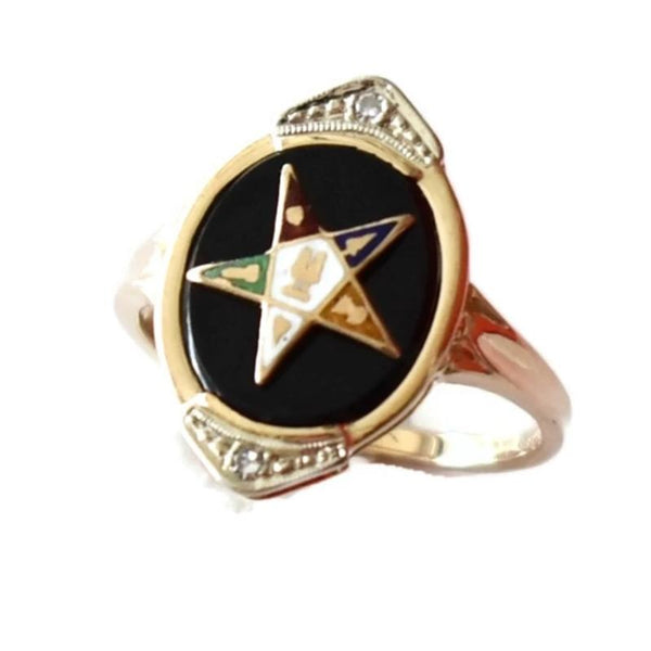 Vintage 14k Gold Eastern Star Onyx Enamel Ring with Diamond Accents - Premier Estate Gallery 2