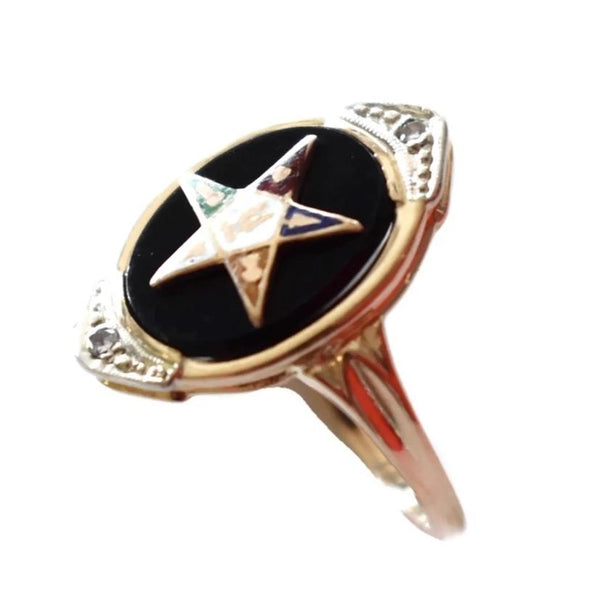 Vintage 14k Gold Eastern Star Onyx Enamel Ring with Diamond Accents - Premier Estate Gallery 1