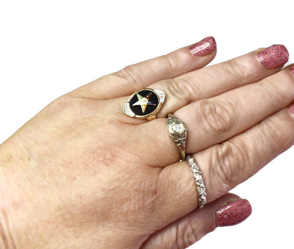 Vintage 14k Gold Eastern Star Onyx Enamel Ring with Diamond Accents, EOS Ring