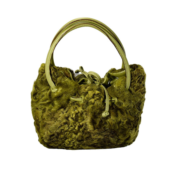 Vintage Avocado Green Curly Lamb Leather Handbag Paolo Masi Italy - Premier Estate Gallery