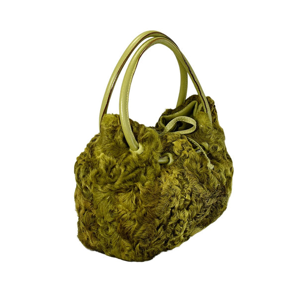 Vintage Avocado Green Curly Lamb Leather Handbag Paolo Masi Italy - Premier Estate Gallery 1