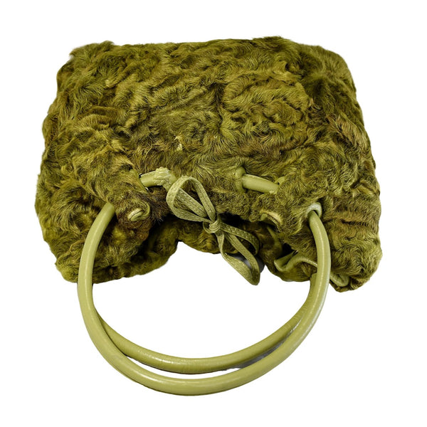 Vintage Avocado Green Curly Lamb Leather Handbag Paolo Masi Italy - Premier Estate Gallery 2