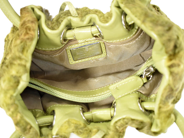 Vintage Avocado Green Curly Lamb Leather Handbag Paolo Masi Italy c1990
